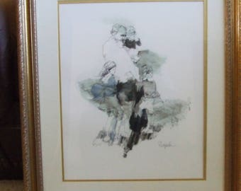 Richard Shepard Art Print.....Old Man With Children.....FREE SHIPPING...REDUCED