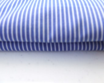 Royal Blue and white striped cotton fabric
