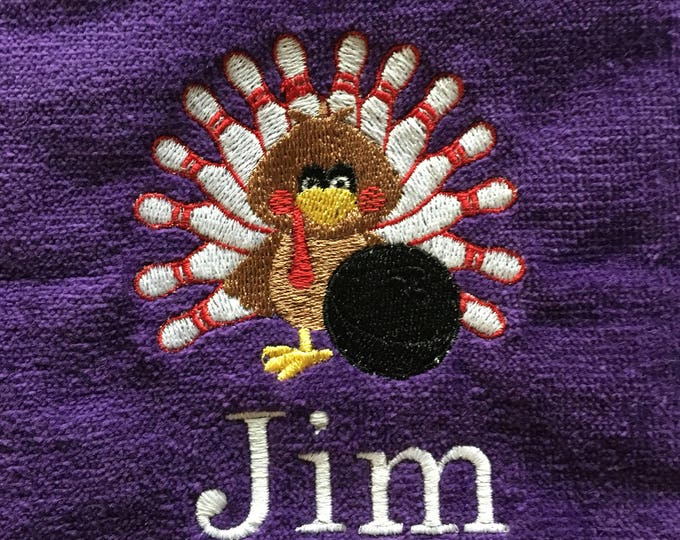 Bowling, Personalized, Bowling towels, turkey bowling, with or without grommet and hook. 12 x 16 or 16 x 26 choices in drop down