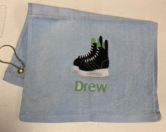 personalized hockey skating towel by Linda Kay's Creations