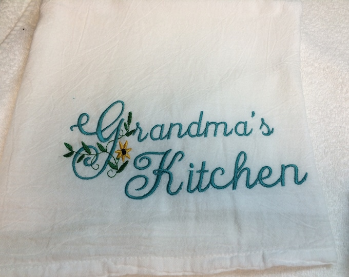 Embroidered flour sack Kitchen Towel, Farmhouse  Kitchen decor, large flour sack towel, Holiday towel, winter, Valentines, Spring, Easter,