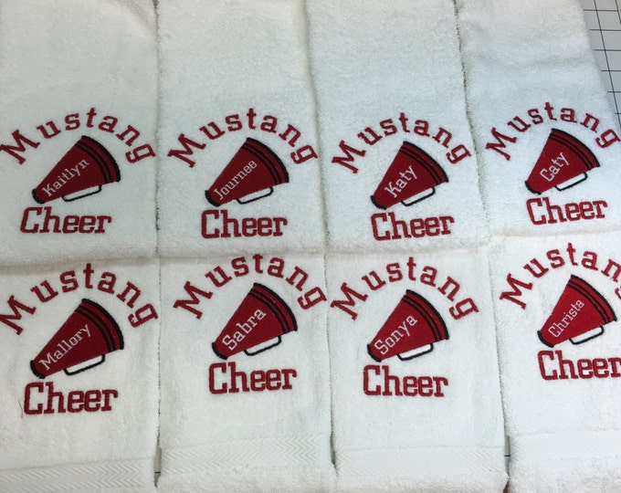 Cheer towels with custom personalized embroidery by Linda Kay's Creations