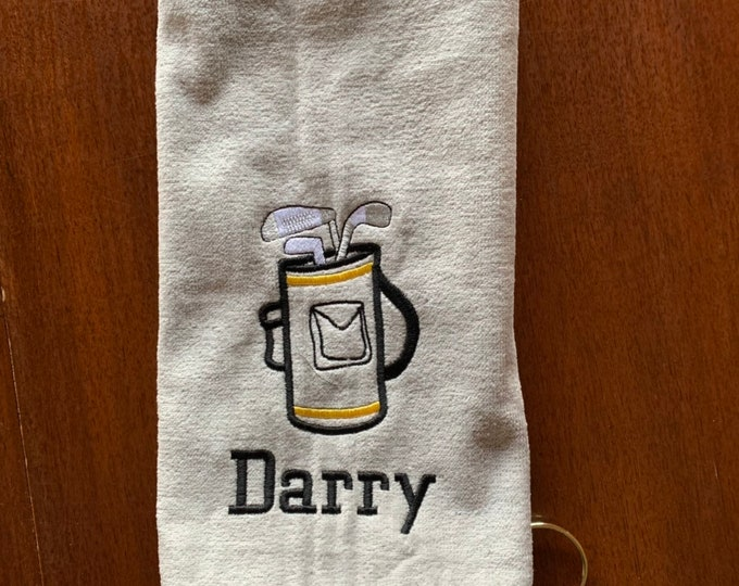 Personalized Embroidered Golf Towel, golf bag design, golf gift, kids Golf Towel