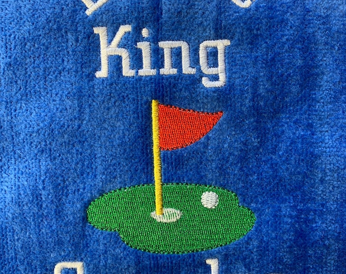 Birdie King Golf Towel / Funny Golf Towel / personalized Golf Towel/ Gift for Him / Par fect golf gift /  11 x 17 or 16 x 26 size