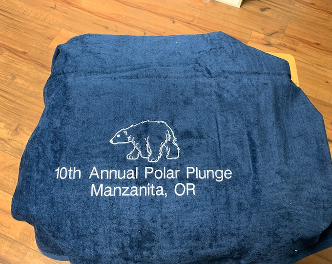 Polar Bear Plunge Custom personalized Beach Towels / made to order/ vacation towel / terry velour