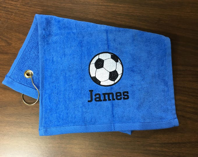 Personalized Kids soccer Towels,  sport towel, bathroom decor, 11 x 18 or 16 x 26, terry velour.