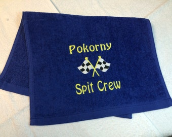 Personalized burp cloth, made with fingertip towel, no hook, any design in my shop.