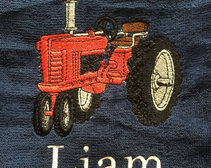 Custom Embroidered Beach Towel, Tractor beach towel, personalized beach towels, large bath towel, monogram, beach towel, pool towel,