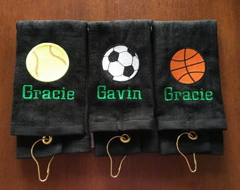 Personalized sport towels, team gift, basketball, volleyball, golf, bowling, baseball, soccer, archery, tennis, track, softball,