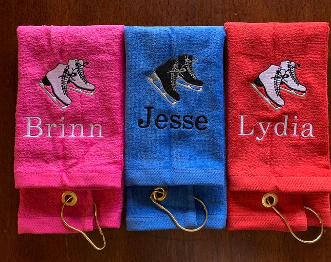 personalized ice skating towel, hockey, ice skating, skating, figure skating, ice skate wipe, skate drying towel, personalized skating towel