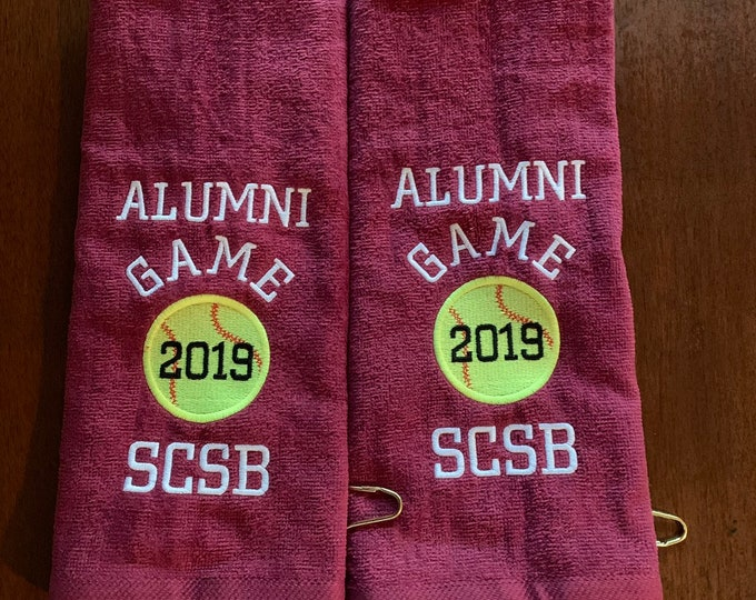 Personalized baseball towel or softball towel, team gift, school sports, with or without hook, team discount
