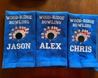 Personalized Bowling, Personalized, Bowling towels, any color, with or without grommet and hook. 12 x 16 or 16 x 26 choices in drop down
