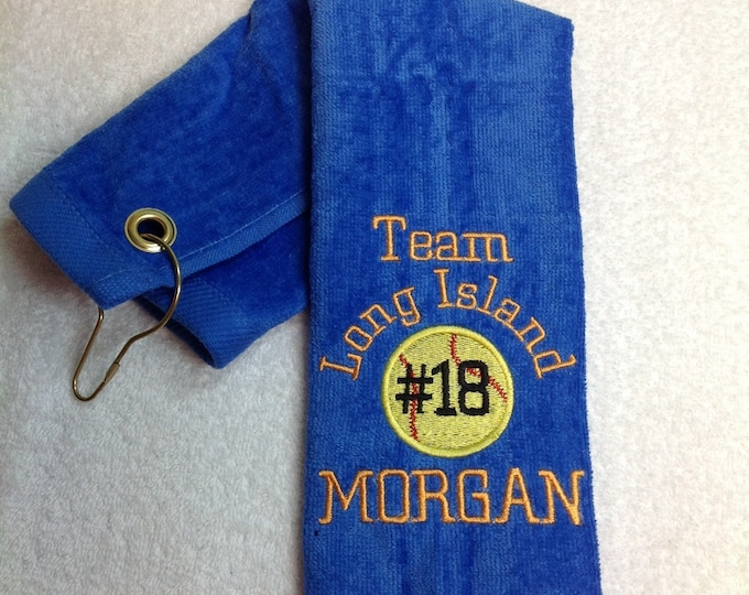 baseball or softball towel with custom personalized embroidery, 12 x 16 or 16 x 26