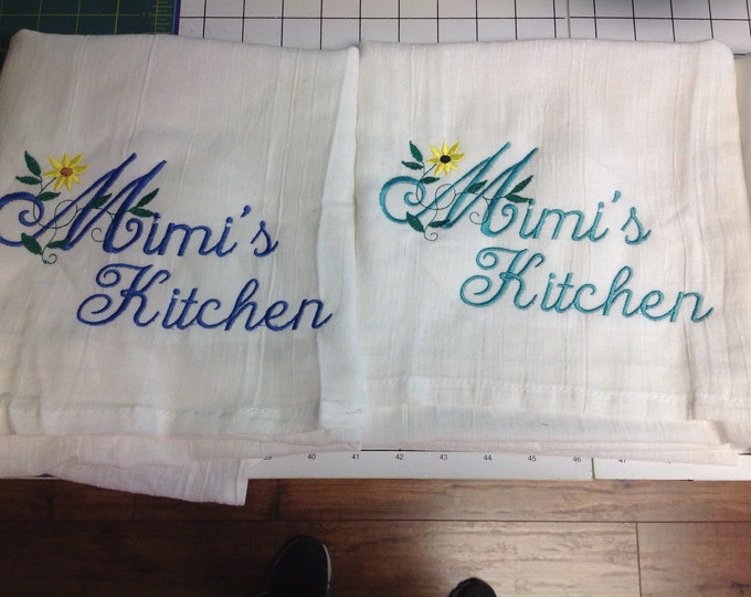 Custom Personalized Kitchen Towel Embroidered by Linda Kay's Creations