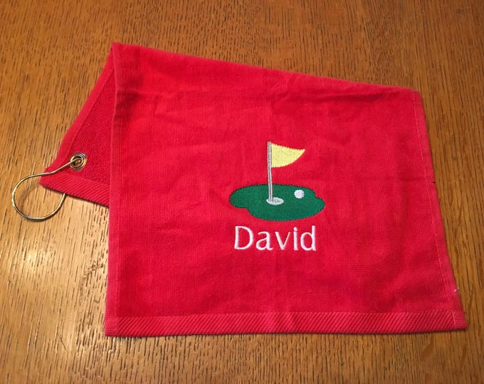 Monogrammed Golf Towels, grommet, Personalized golf towel, fast turn around, wedding favor, golf gift, custom golf towel