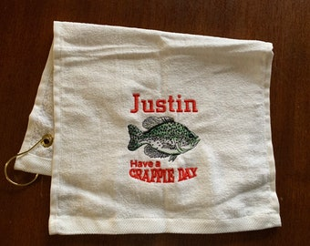 Fishing gift, Fishing towel, personalized towel, embroidered towels, camping, kitchen towel, fish, Fathers Day, embroidered, camping,