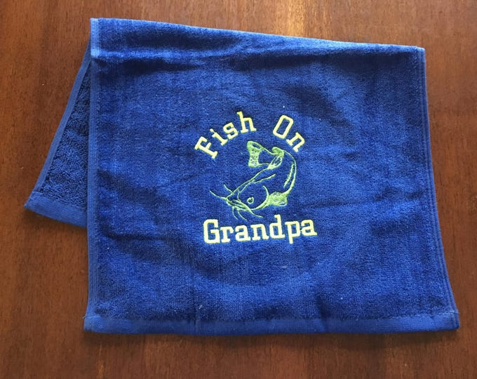 Personalized fishing towel, Fathers Day, gift for men, camping, Fishing towel, camper kitchen decor, embroidered towels, fish on dad
