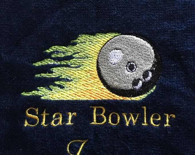 Bowling, Personalized, Bowling towels, turkey, bowling pins, fire ball, embroidered, bowling gift, one or two  lines.