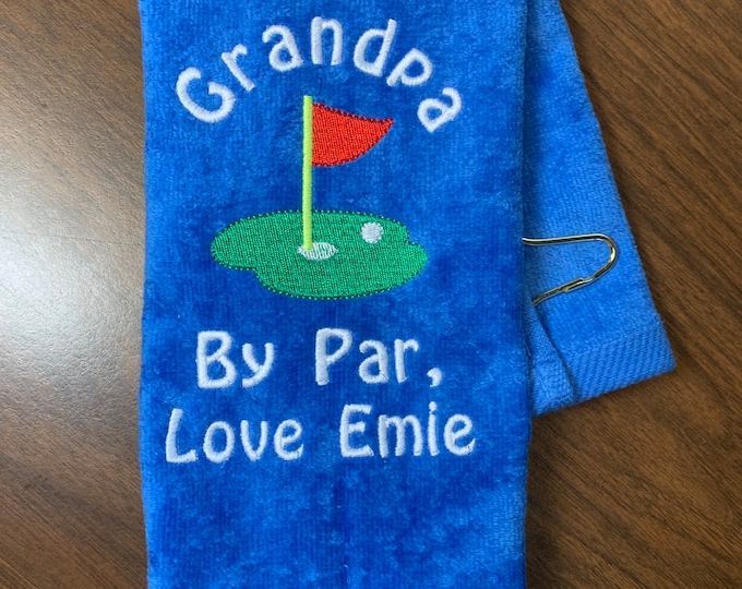 Fathers Day golf gift, custom personalized embroidery included