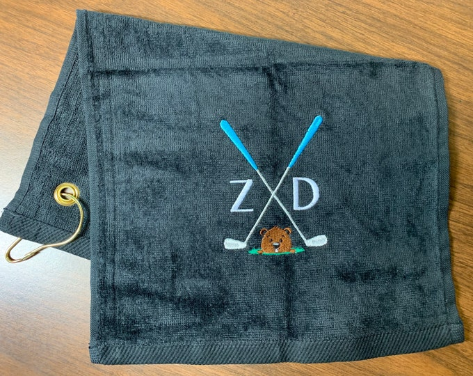 Personalized Golf towel, by lindakayscreations.etsy.com, golf groundhog, crossed clubs with ball design, crossed clubs design,