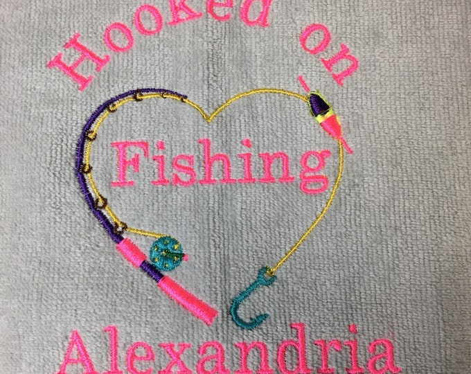 Fishing, Fishing towel, personalized towel, camping, fish, Father's Day , bait towel