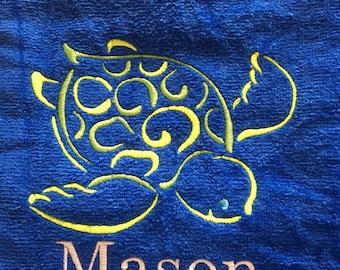 Personalized Sea turtle beach towel, custom personalized beach towels, kids towel, bath towel, kids party gift, birthday gift, pool towel,