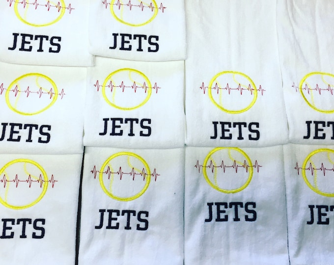 Personalized towel, any sport, sports team, coach gift, baseball, softball tennis, one name per towel with this order