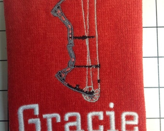 Custom Embroidered Archery Towel, two size choices in the drop menu