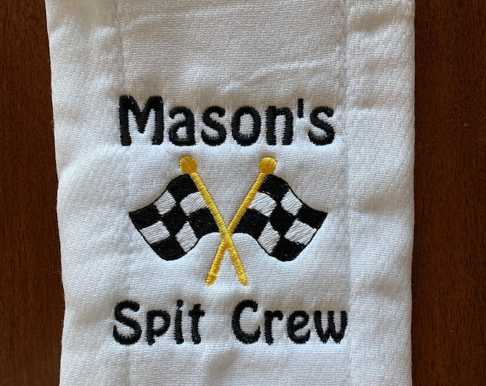 Personalized baby gift, Burp Cloth, Custom Embroidered, Race Cars, Custom Orders, Personalized Baby, velour towel, or white diaper,