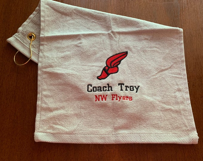 Personalized track and field, running, embroidered towel,