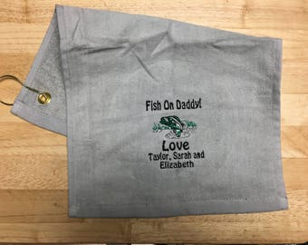 Fishing, fishing towel, bass fishing, fishing gift, personalized fishing, personalized towel, custom fishing towel, monogrammed, fathers day