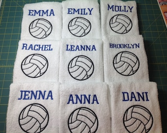 Personalized volleyball towel, great seller, volleyball team towels, volleyball gift ****** one name on this listing.