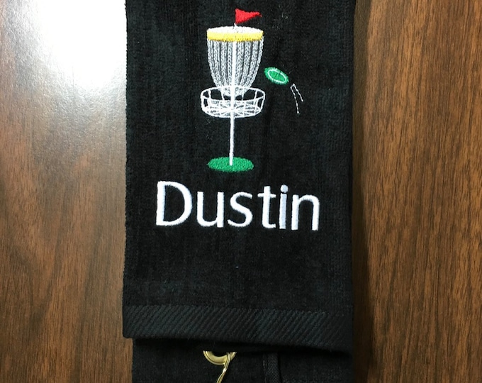 Disc golf towel with custom embroidery and corner hook by Linda Kay's Creations