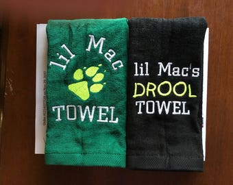 custom personalized dog gift, embroidered dog towel