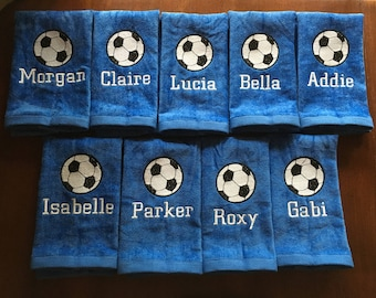 Personalized soccer towel, fast turn around, embroidered towel, message for team orders,