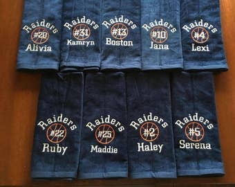 Basketball towel with Custom personalized embroidery with 3 lines of personization.