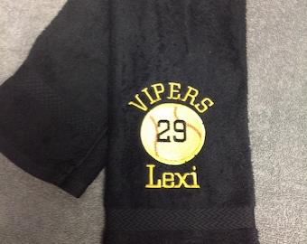 Personalized Baseball or Softball Towel / Custom embroidered school sport towel