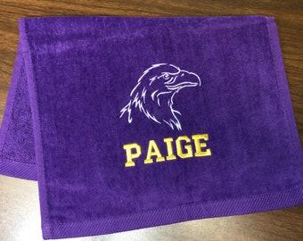 Mascot Sport towels, Personalized towel, team towels, bulldogs, Hornets, Falcons, Comets, Tigers,  Custom Embroidery, Sport Towels,