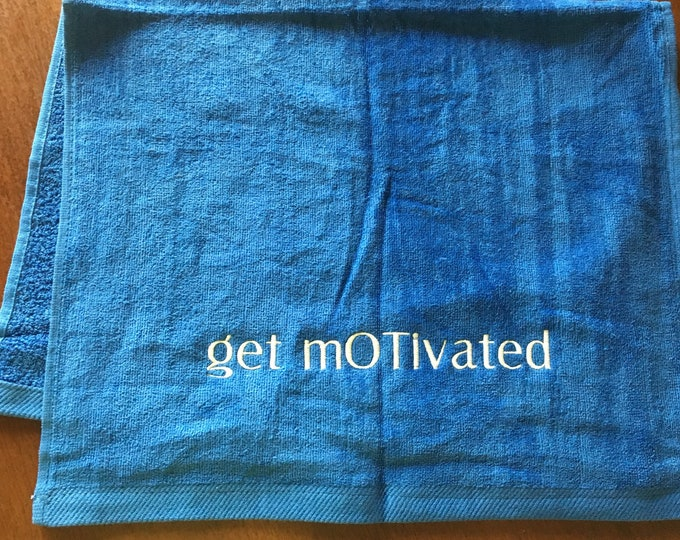 Custom Personalized motivational towels, custom towel with embroidery included, exercise, gym towel,