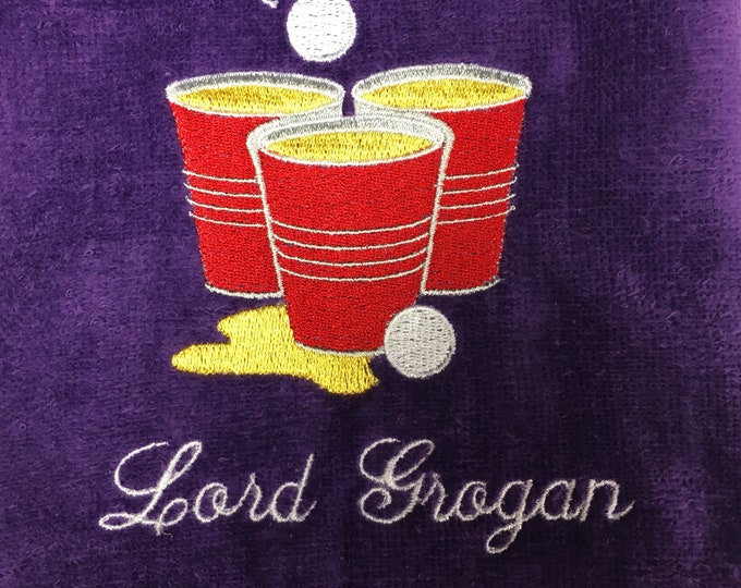 Beer pong towel, Custom Personalized, Embroidered Towel, Monogrammed Sports, Sports Towel, beer pong Gift, Embroidery Towel,