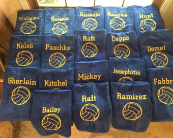 27 Personalized Water polo towels with one name on each 32 x 60, shipping is included, i can change for any number of towels