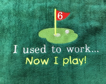 Custom personalized golf gift, personalized embroidery included, terry velour towel, 2 size choices
