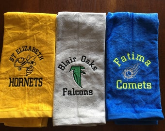 Mascot Sport towels, Personalized towel, team towels, bulldogs, Hornets, Falcons, Comets, Tigers,  Custom Embroidery, Sport Towels,
