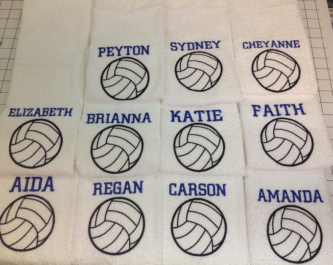 volleyball towel with custom embroidery, 16x26