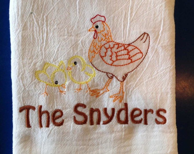 Chicken decor, Chicken Tea Towel, personalized with one name or line, kitchen towel, Mothers Day, flour sack towel, personalized towel,