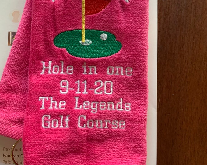 Custom Golf Towel, Personalized Golf Towel, Embroidered Towel, Monogram Golf towel, Hole in one, Linda Kays Creations,