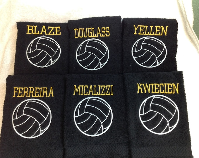Personalized volleyball towel, fast turnaround, with one name and ball, great seller, volleyball team towels, volleyball gift,
