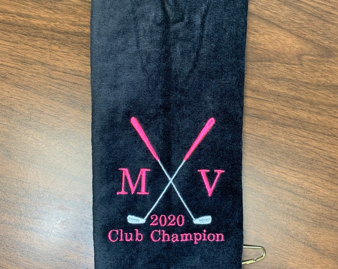 Personalized Golf towel, golf towel, golf gift, monogram towel, embroidered towel, choice of 2 sizes, one towel, 16 x 26