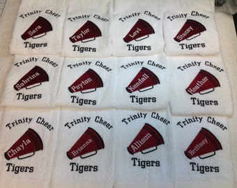 Cheerleading embroidered personalized towels, Cheerleading gift, Megaphone, personalized gift, monogrammed, 16 x 26