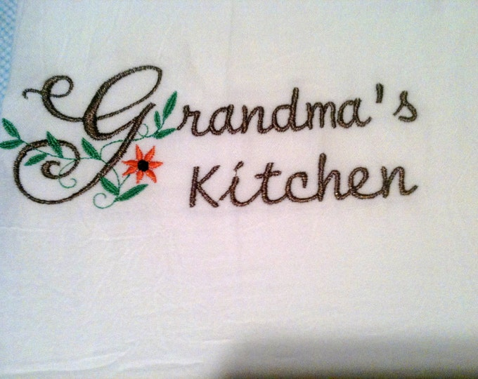 Grandma's Kitchen embroidered towel